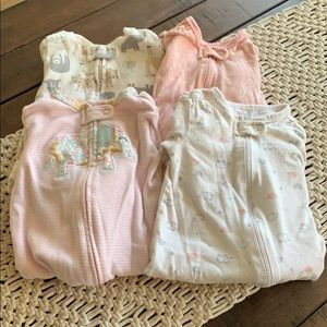 lot of 4 Carter's girls footed pajamas size 9 mo